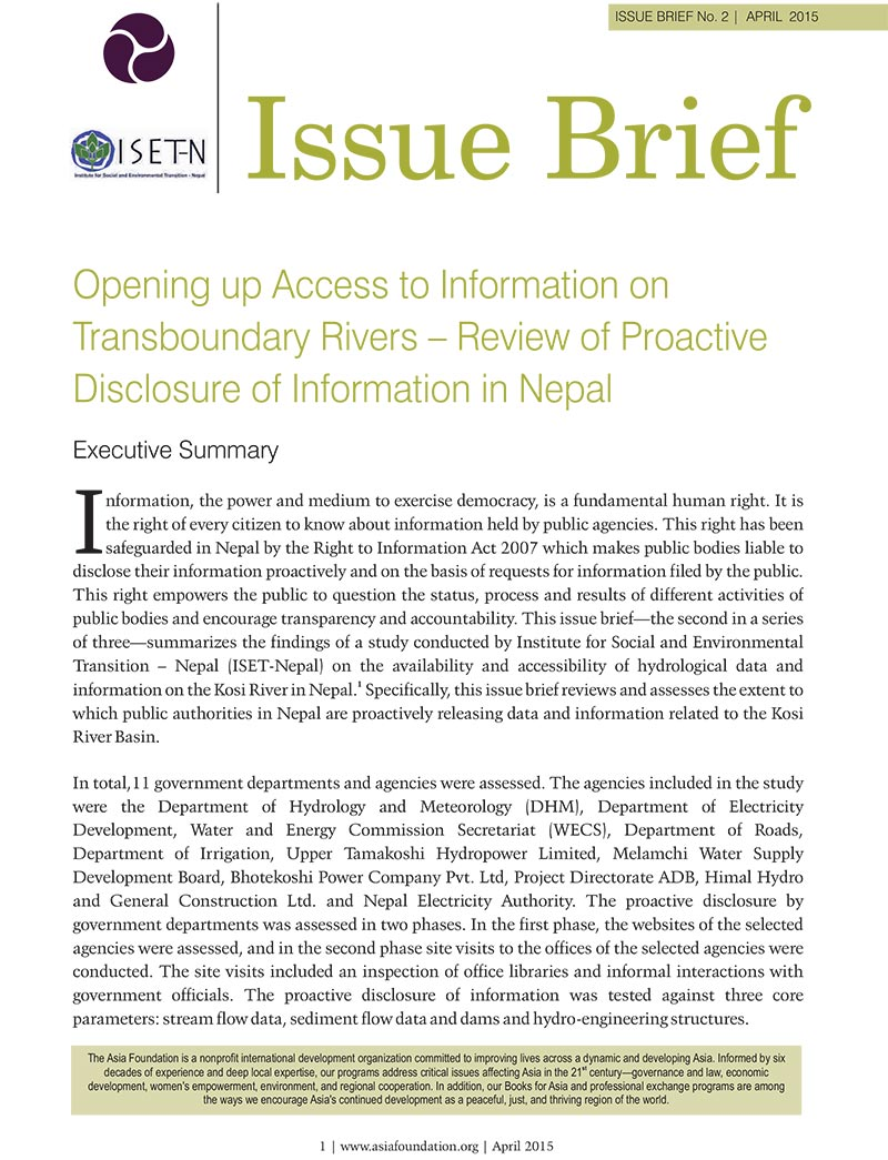Issue Brief: Opening Up Access to Information on Transboundary River- Review of Proactive Disclosure of Information in Nepal